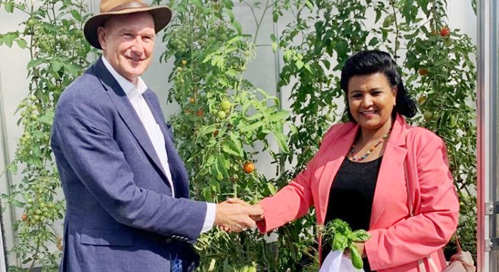 H.E. Ambassador Mulu Solomon visited SUNfarming Food and Energy company headquarters located in Erkner, Germany