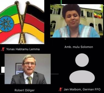 H.E. Ambassador Mulu Solomon holds talks with Ambassador Robert Doelger