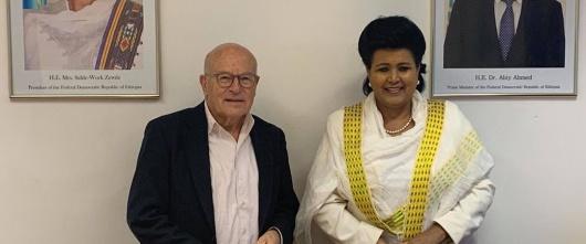 H.E Ambassador Mulu Solomon Confers with Mr. Volker Schlöndorff.